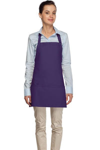 Purple 3 Pocket Bib Apron