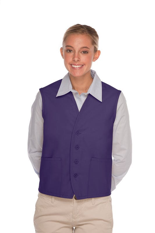 Purple 4-Button Unisex Vest with 2 Pockets