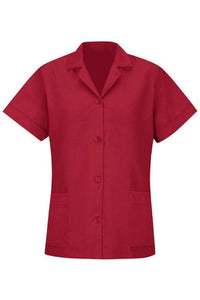 Red Women's Smock Loose Fit Short Sleeve