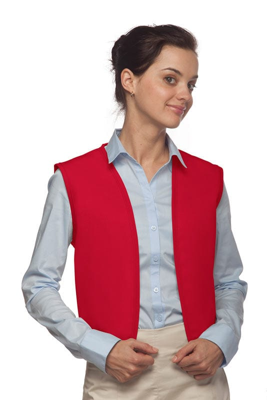 Red No Pocket Unisex Vest with No Buttons