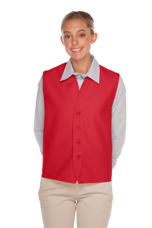Red 4-Button Unisex Vest with No Pockets
