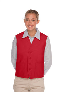 Red 4-Button Unisex Vest with 2 Pockets