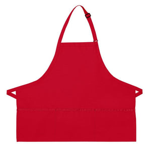 Red XL 3-Pocket Bib Apron