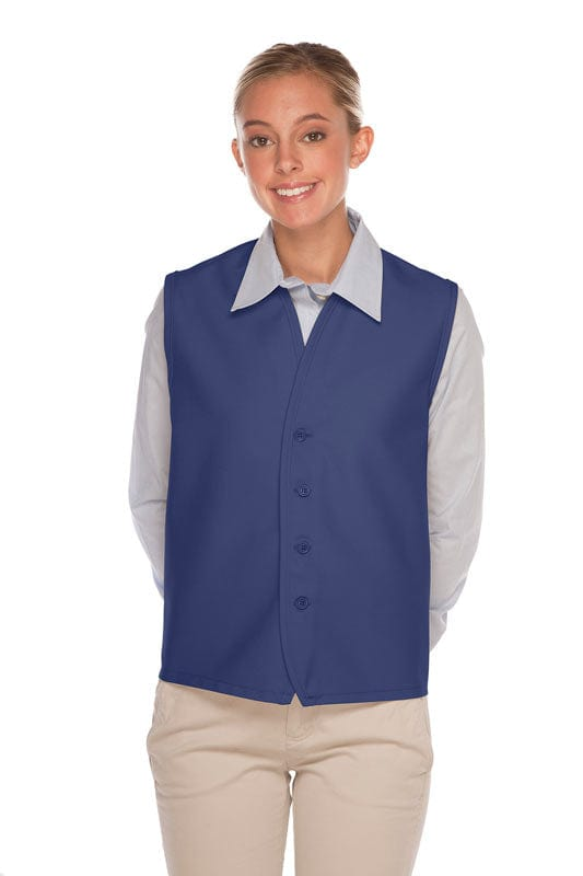Royal Blue 4-Button Unisex Vest with No Pockets