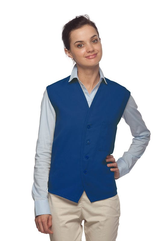 Royal Blue 4-Button Unisex Vest with 1 Pocket