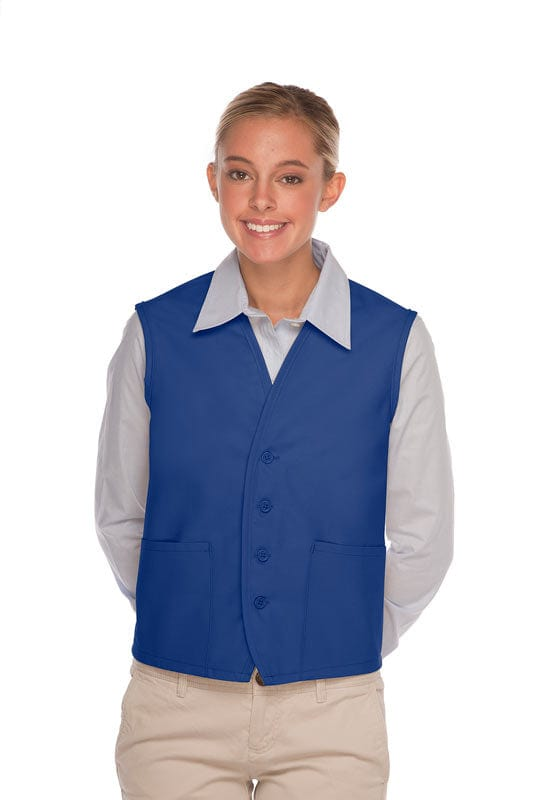 Royal Blue 4-Button Unisex Vest with 2 Pockets