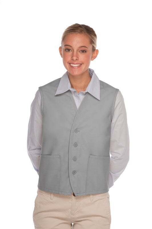 Silver 4-Button Unisex Vest with 2 Pockets