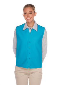 Turquoise 4-Button Unisex Vest with No Pockets