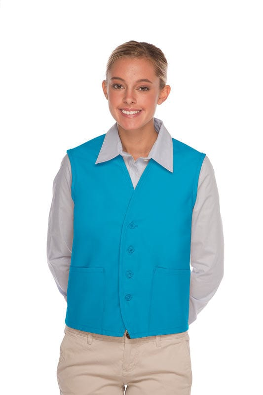 Turquoise 4-Button Unisex Vest with 2 Pockets