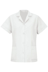 White Women's Smock Loose Fit Short Sleeve