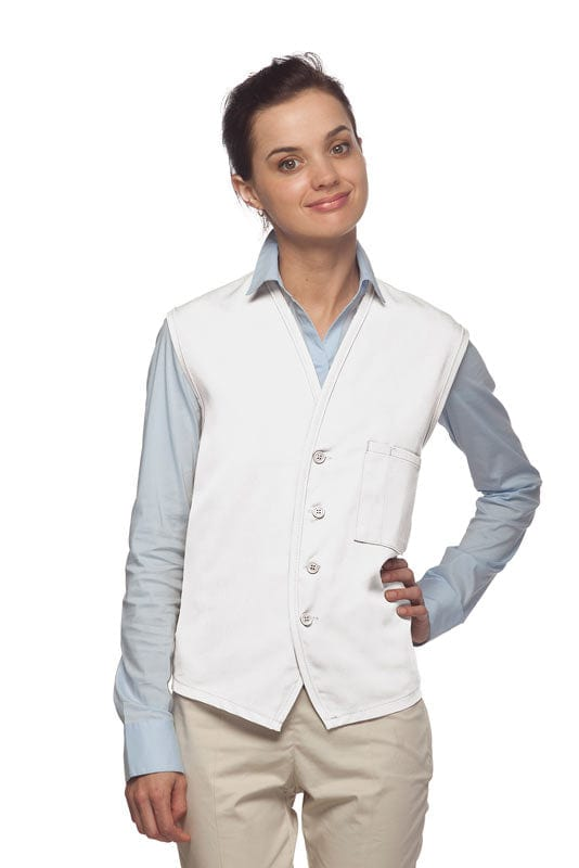 White 4-Button Unisex Vest with 1 Pocket