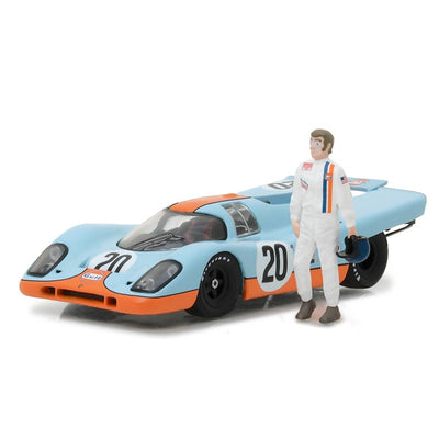 Greenlight 1/43 1970 Gulf Porsche 917K With Steve McQueen Figure