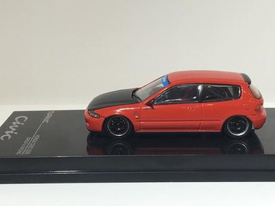 Tarmac Works 1/64 Honda Civic EG6 Gr.A Racing Red with Black bonnet