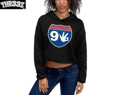 THR33Z INTERSTATE 93 (MONEY-ROUTE) Crop Hoodie