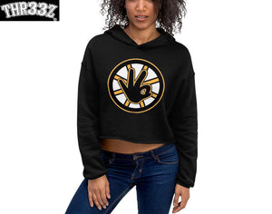 THR33Z BLACK AND GOLD CROP TOP HOODIE