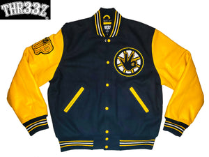 THR33Z BLACK & GOLD VARSITY JACKET