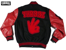 THR33Z CLASSIC VARSITY JACKET (red & black)
