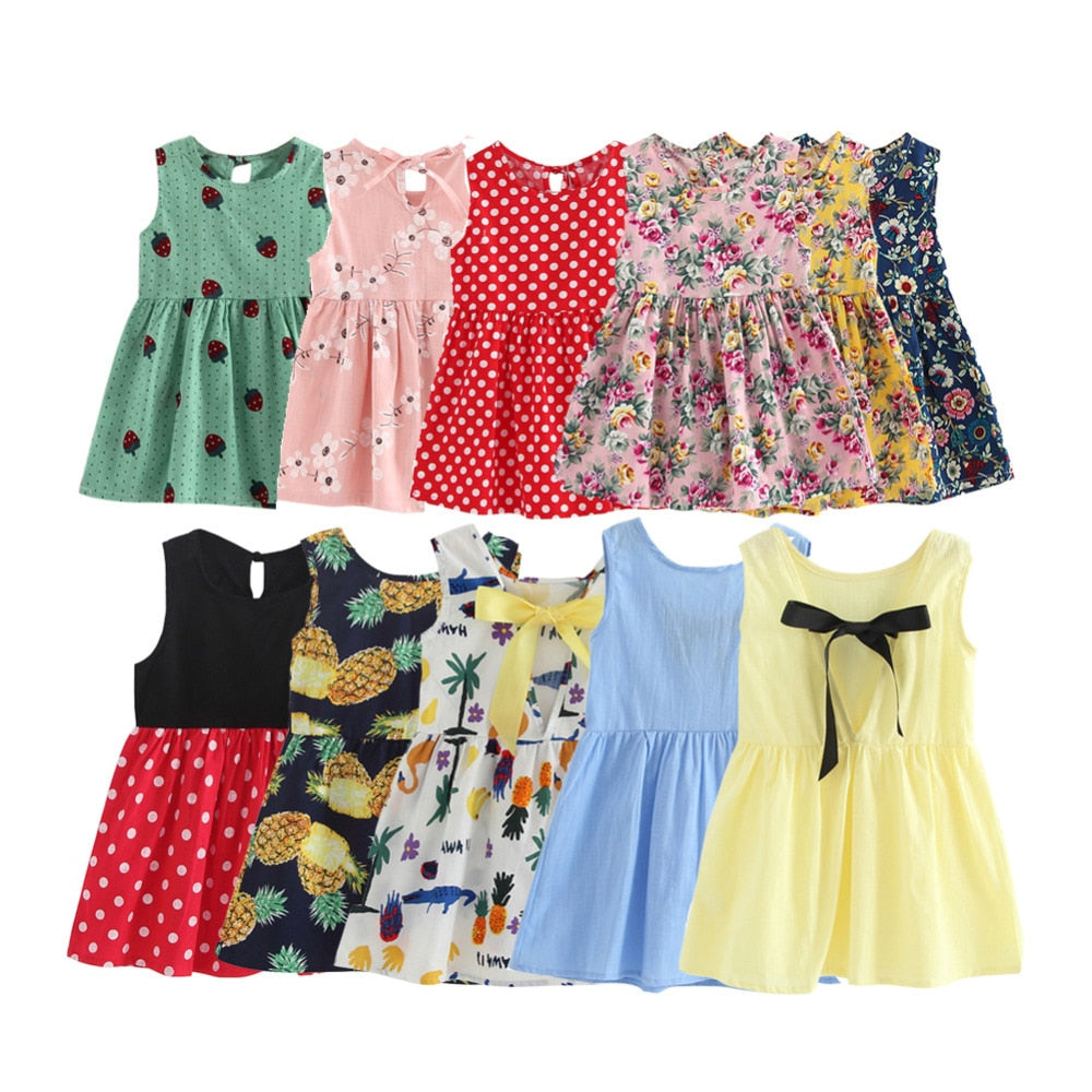 053caf80faa4 Children Dresses Kids Girl Sleeveless Flower Print Cotton and Linen ...