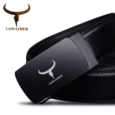 COWATHER Cow Leather Men's Automatic Buckle Belt Cinturones Hombre