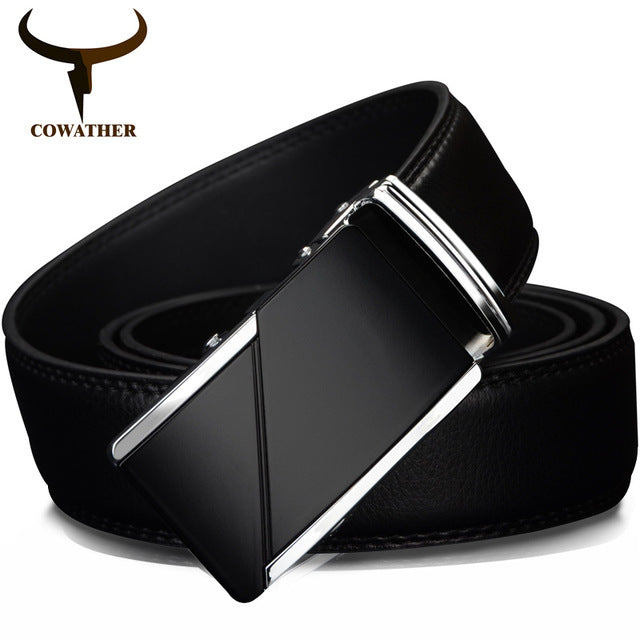COWATHER Cow Leather Men's Automatic Ratchet Buckle Belt