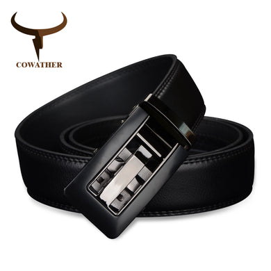 COWATHER Cow Leather Men's Automatic Buckle Belt Cinto Masculino