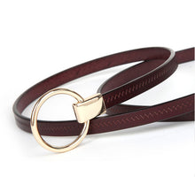 COWATHER Cow Leather Vintage Women Pin Buckle Belt