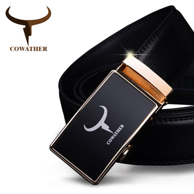 COWATHER Cow Leather Men's Automatic Alloy Buckle Belt