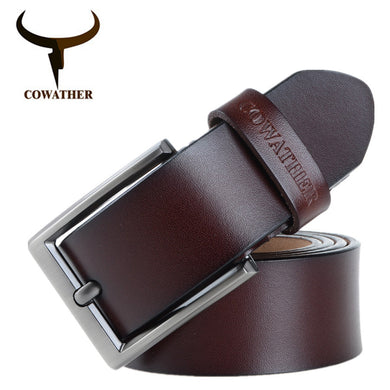 COWATHER Cow Leather Vintage Men's Pin Buckle Belt