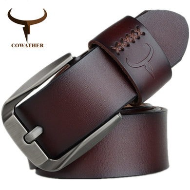 COWATHER Cow Leather Men's Pin Buckle Belt Cinturones Hombre