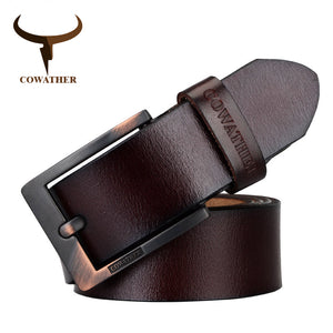 COWATHER Cow Leather Men's Pin Buckle Belt Ceinture Homme