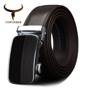 COWATHER Cowhide Cow Leather Men's Automatic Buckle Belt
