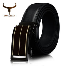 COWATHER Cowhide Cow Leather Men's Automatic Ratchet Buckle Belt