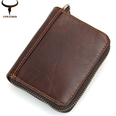 COWATHER Cow Genuine Leather Card ID Holder Wallet