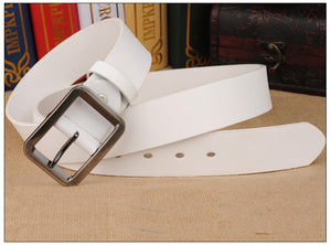 COWATHER Cowhide Cow Leather Unisex Pin Buckle Belt Cinto Masculino
