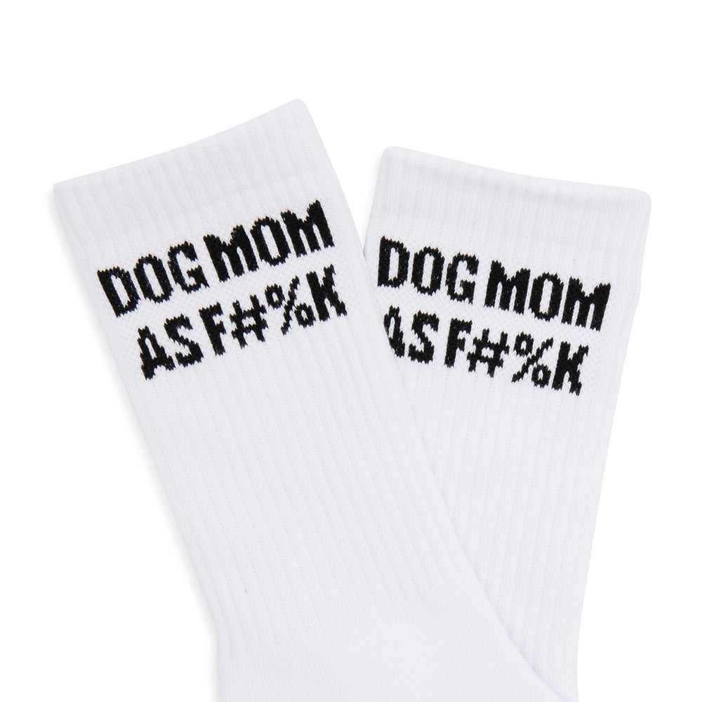 Dog Mom AF Striped Socks - Black