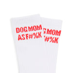 Dog Mom AF Striped Socks - Red