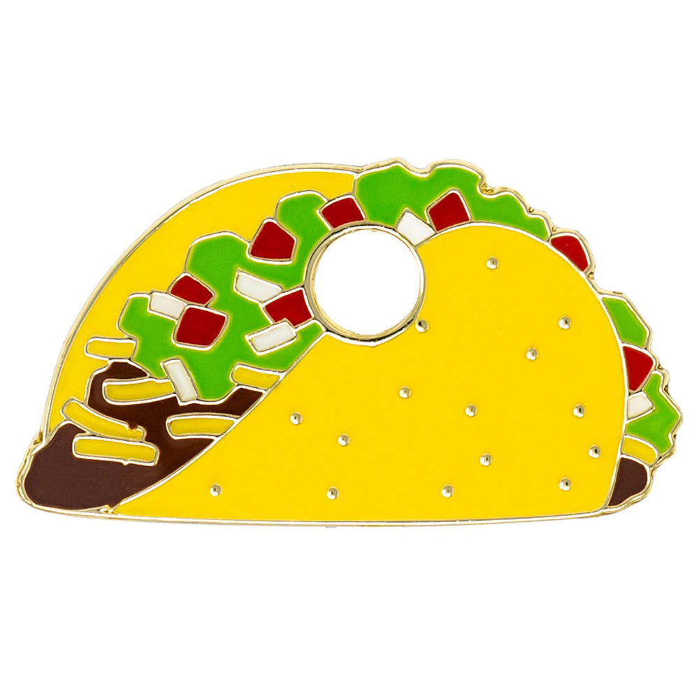 taco yellow green brown red enamel pet id tag | trill paws