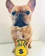 Money Bag yellow and black plush pet toy and French Bulldog | Trill Paws