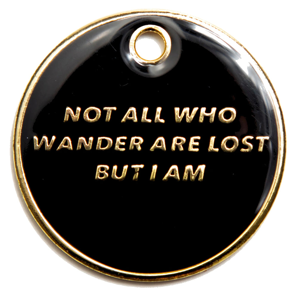 Not All Who Wander Black and Gold enamel pet identification tag | Trill Paws