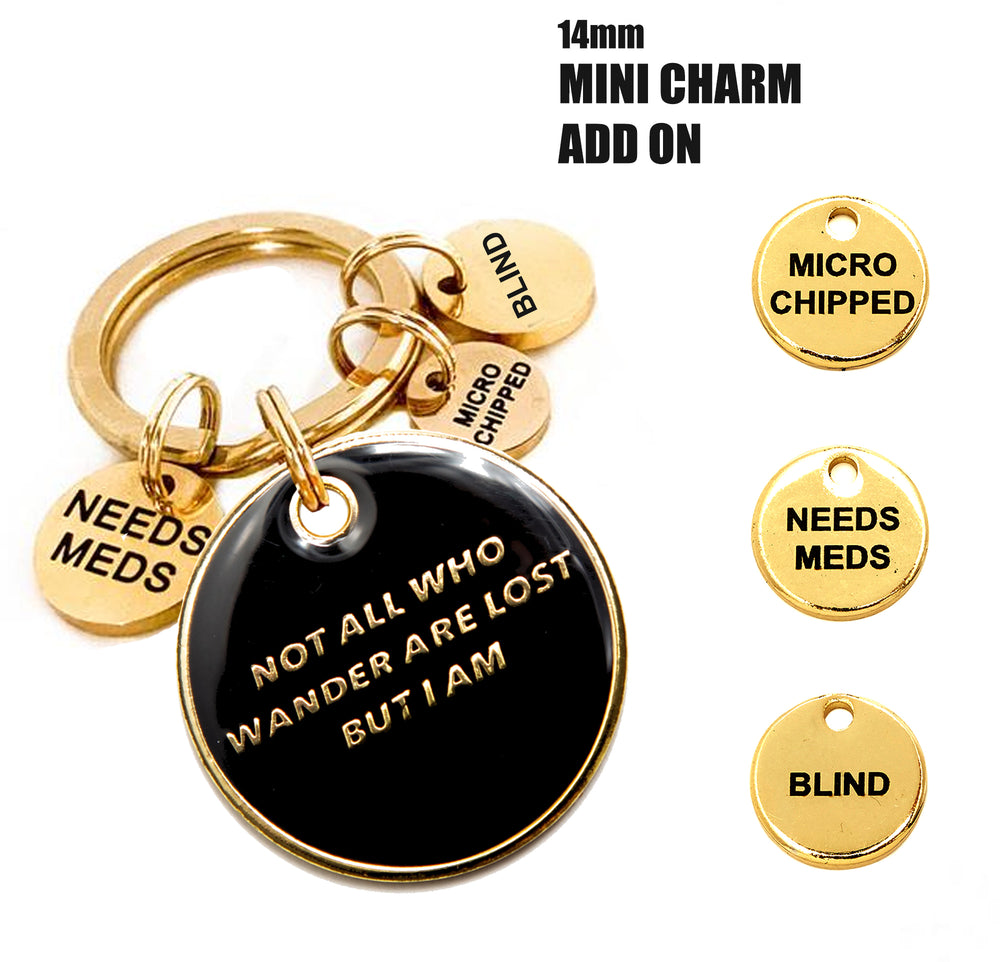 Trill Paws Mini Charm collection black enamel pet tag and gold mini charms attached