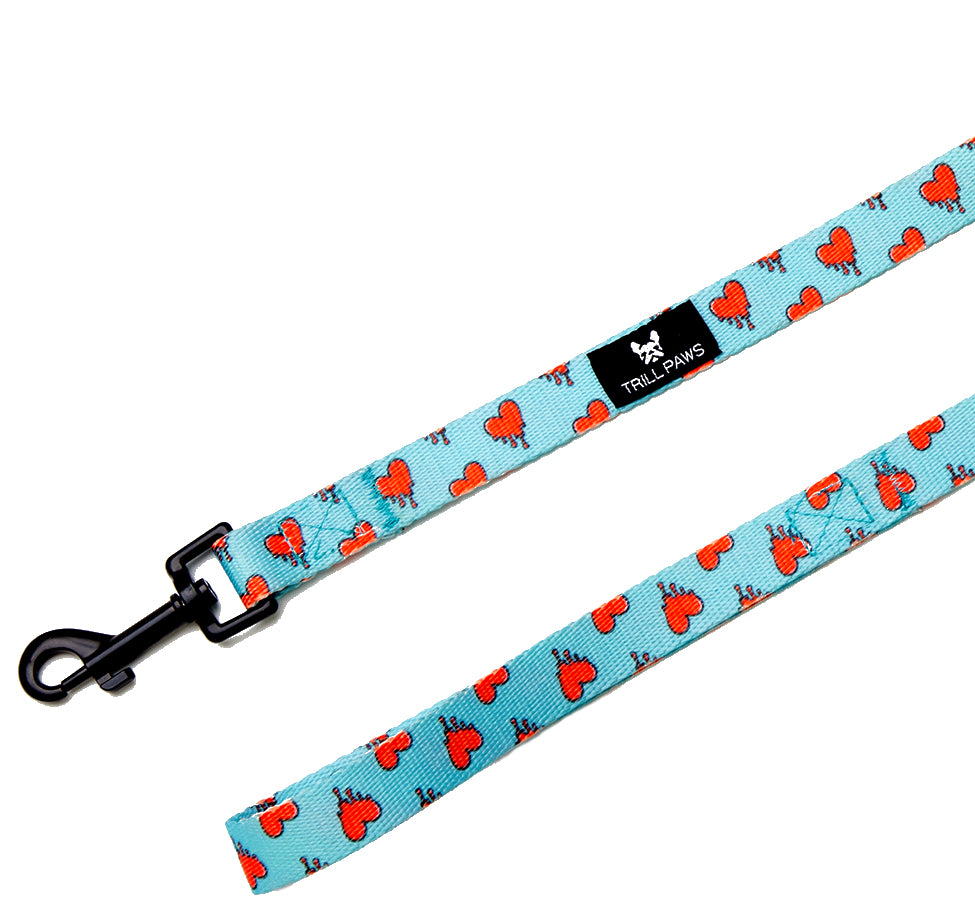 Melting Hearts Leash with blue background and red hearts | TRILL PAWS