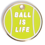 ball is life green tennis ball enamel pet id tag - trill paws