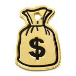 gold money bag enamel pet id tag black money sign on white background | trill paws