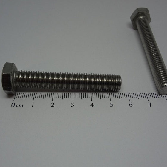 Hex Bolt, Full Thread, Stainless Steel, M8x55mm-Canada Bolts