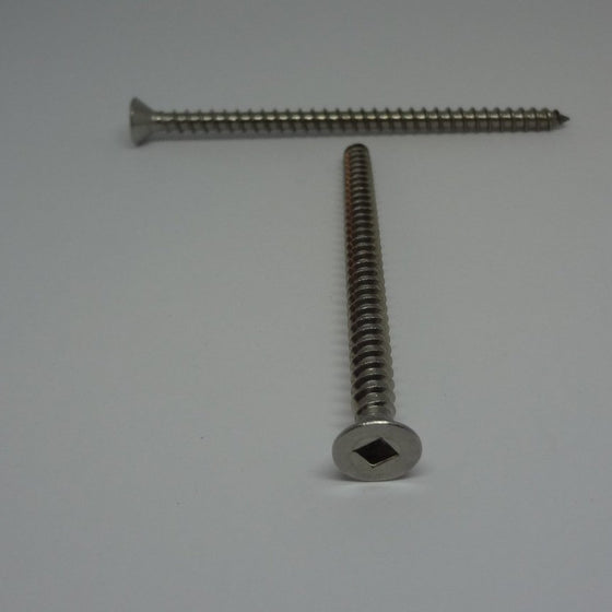 "Sheet Metal Screws, Square Drive Flat Head, Stainless Steel, #10x3""-Canada Bolts"