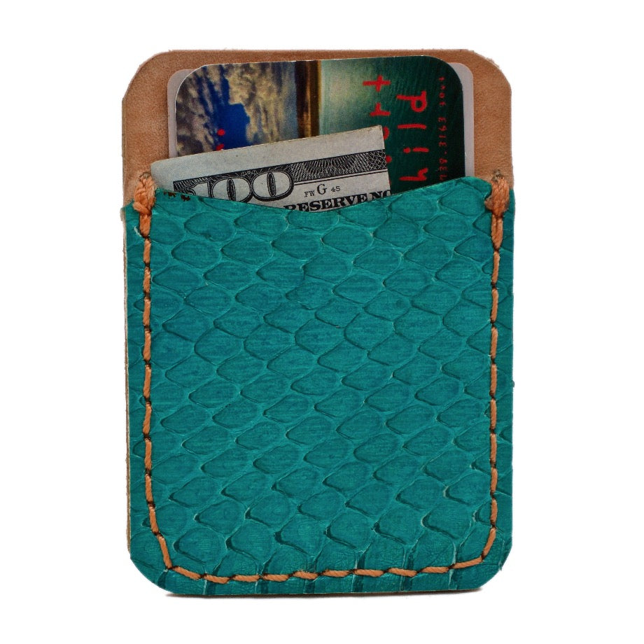 Front side of Aqua Sea Snake Stick On Leather Phone Wallet. Handcrafted with Aqua colored Sea Snake, Natural Vegetable Tanned Leather and stitched with mandarin colored thread.