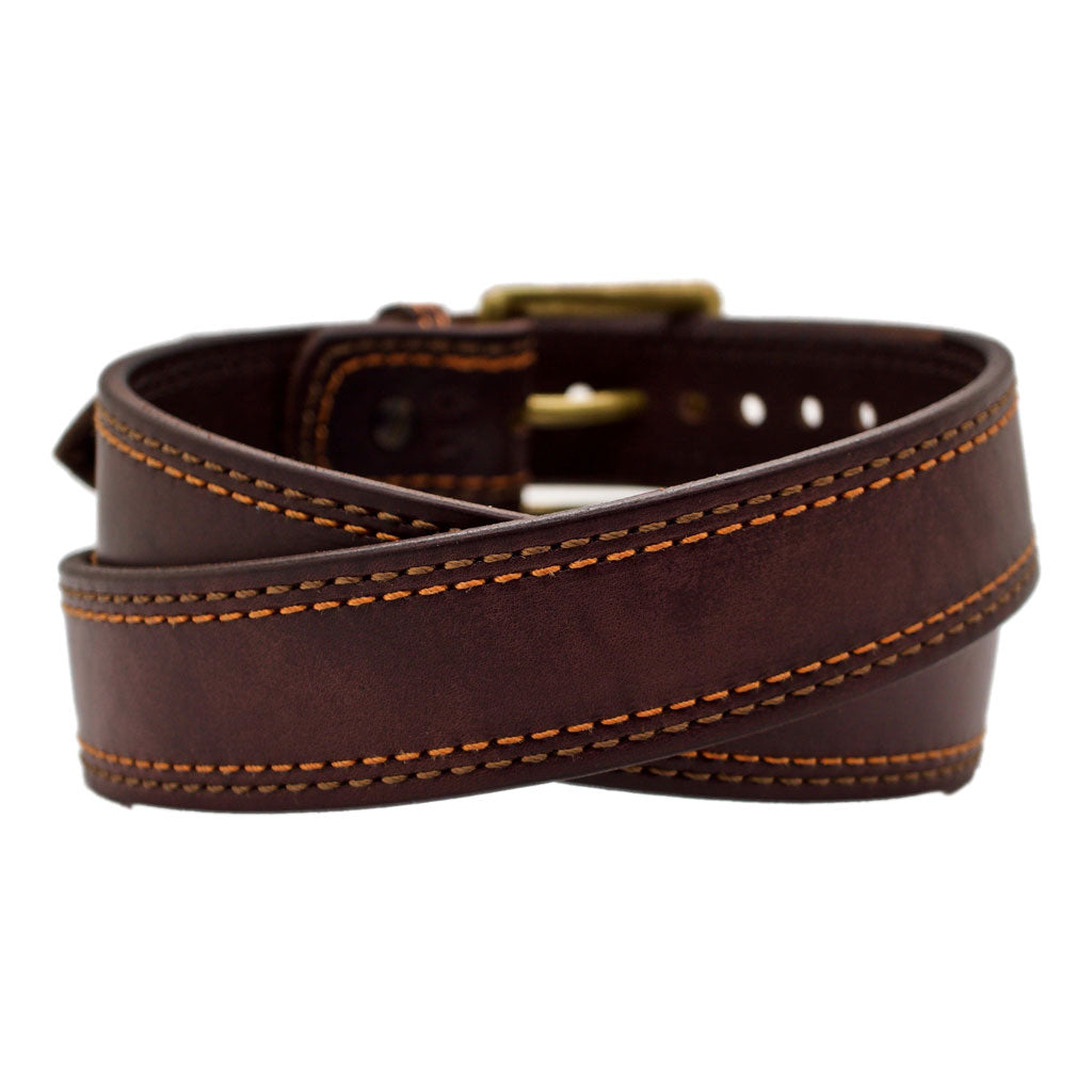 Front Side of the Autumn Mens Brown Leather Belt with Solid Brass buckle