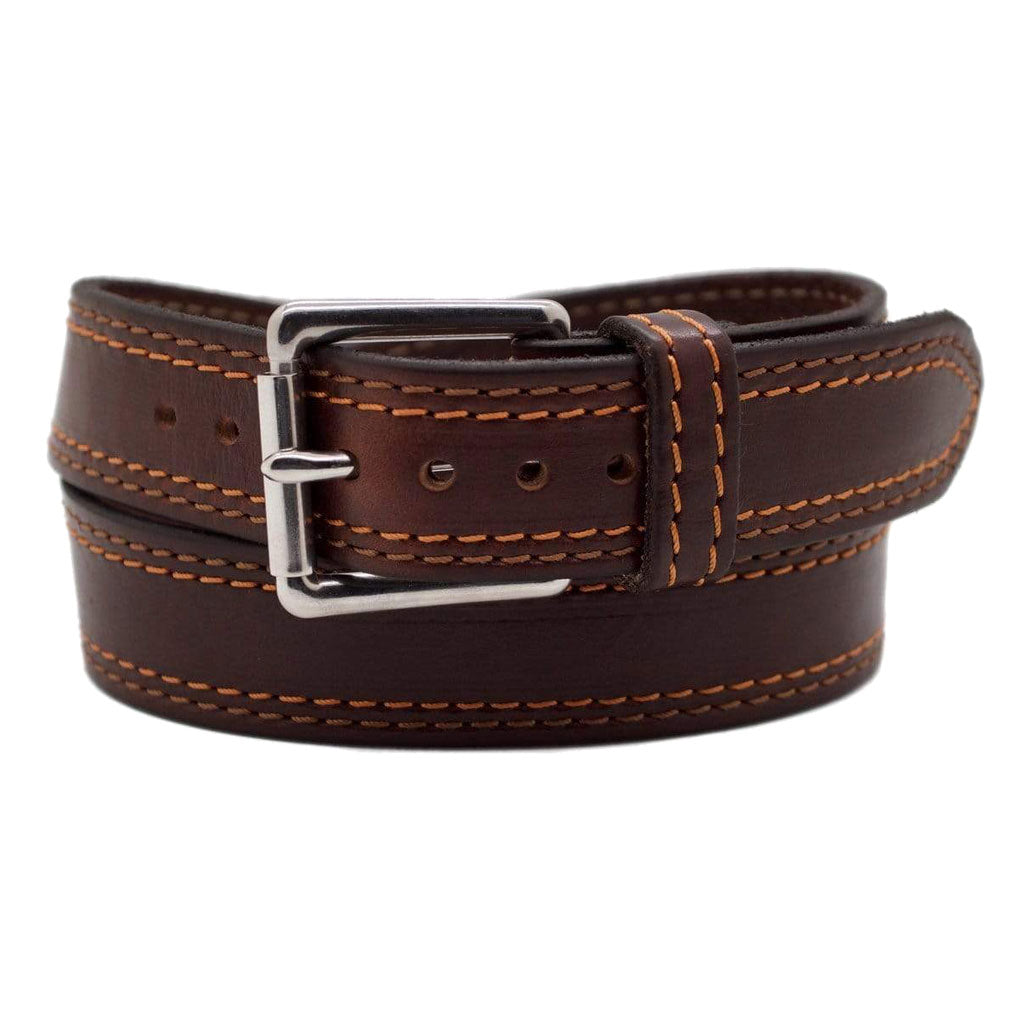 Front Side of the Autumn Mens Brown Leather Belt with Stainless Steel buckle