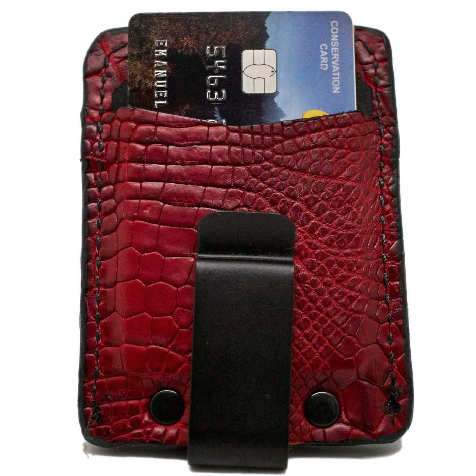 Backside of Barchetta Red Alligator Leather Minimalist Wallet with credit card and black spring steel clip