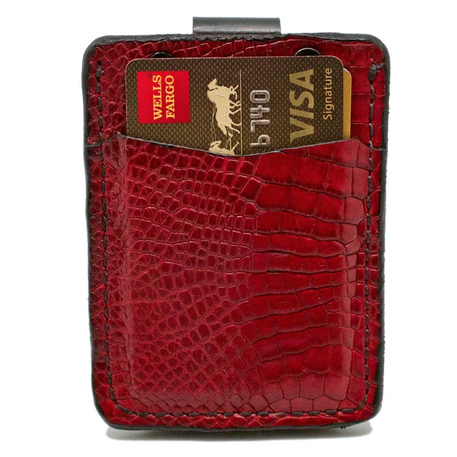Front side of Barchetta Red Alligator Leather Minimalisit Wallet with credit cards